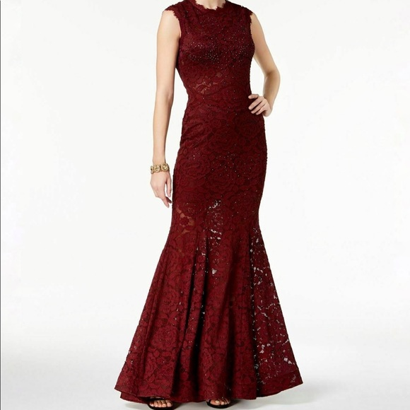 Betsy & Adam Wine Lace Mermaid Gown - Size 0